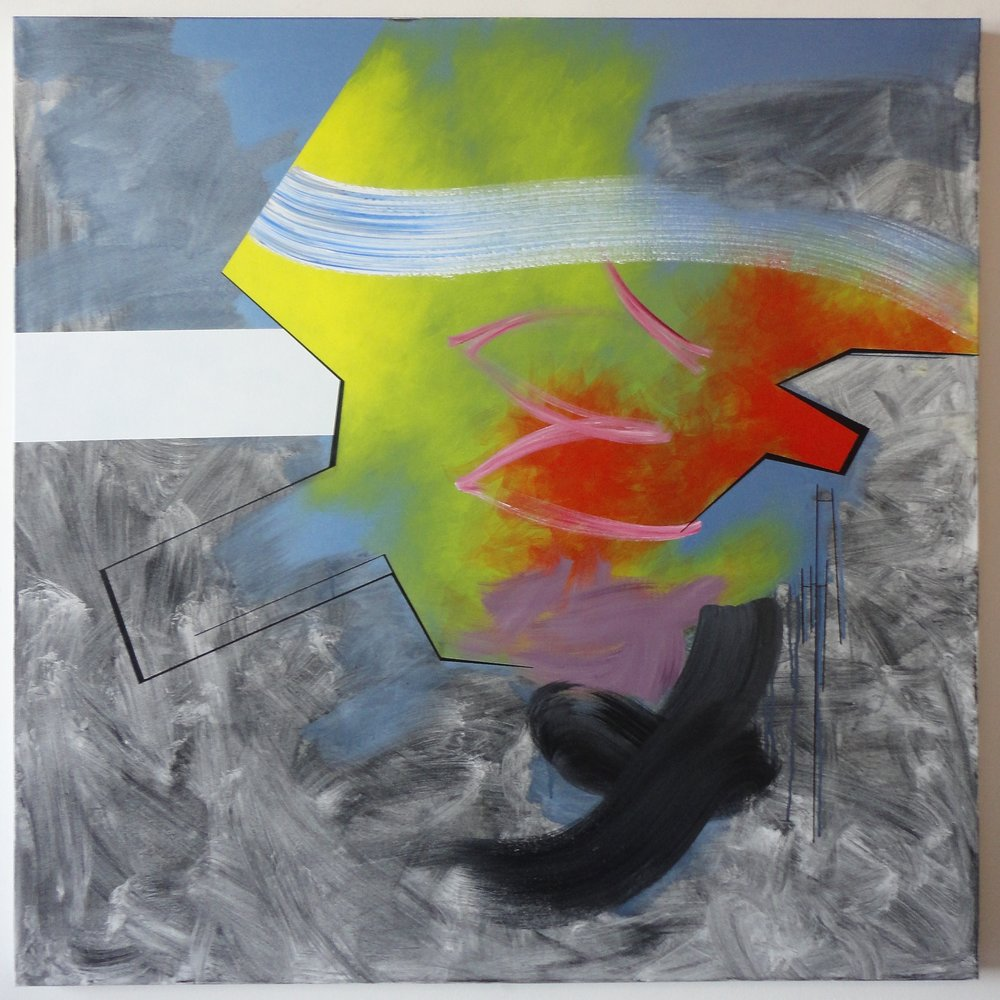 """Untitled. (Why/What) $2,300.00, 06/12/15, 48""""Hx48""""Wx1.5""""D, acrylic, charcoal, on canvas."""