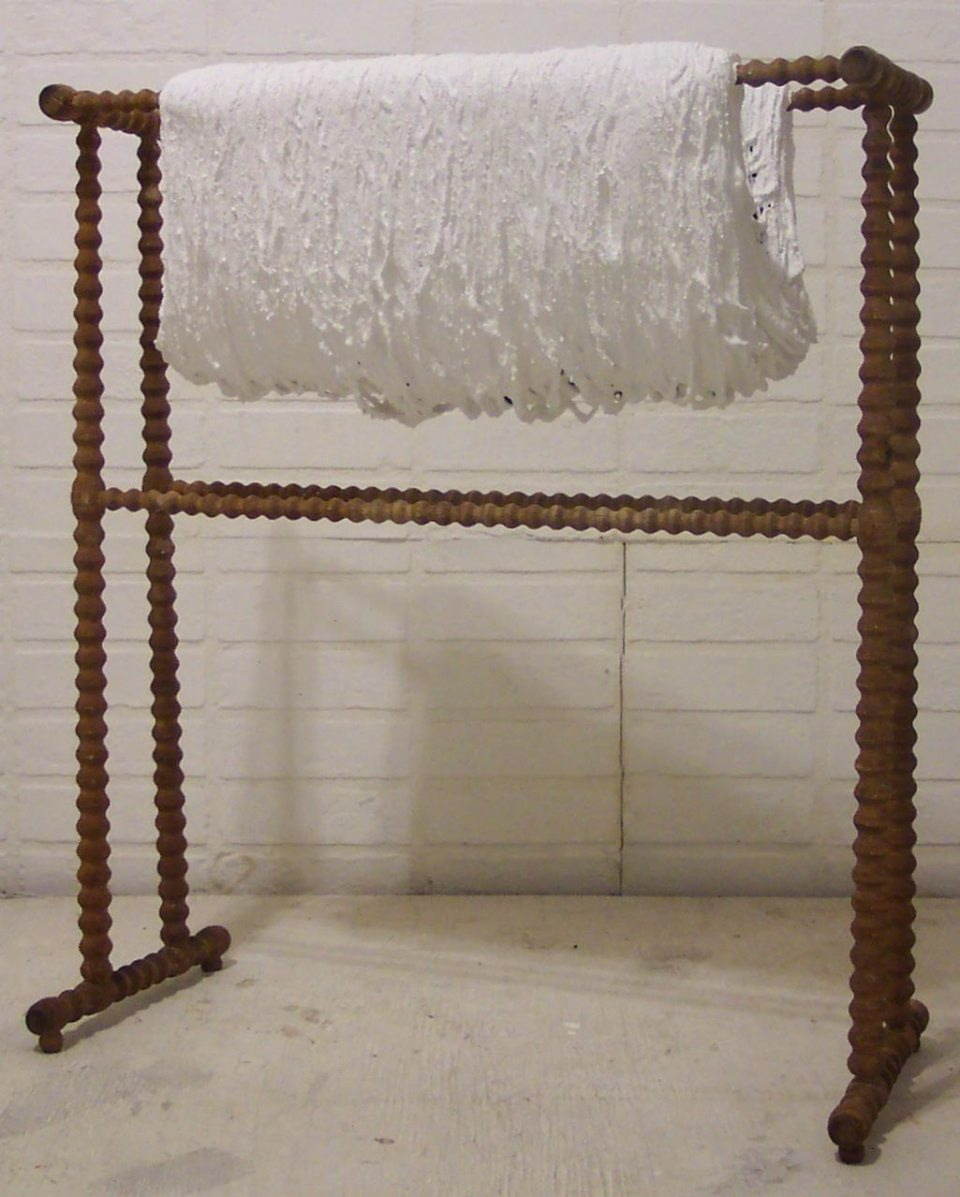 "Untitled (Rut). 2002, 29""Hx25""Wx9""D, yarn, wood rack, acrylic."