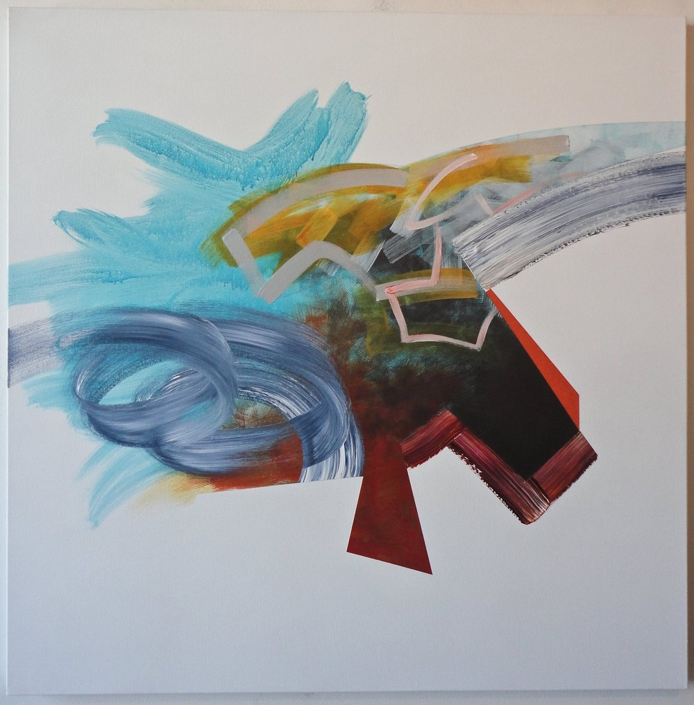 "Untitled. 08/15/15, $2,300.00, 48""Hx48""Wx1.5""D, acrylic on canvas."