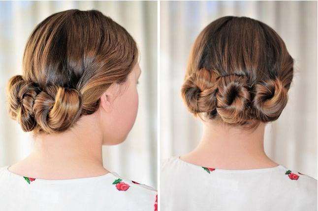 Triple buns hairstyle