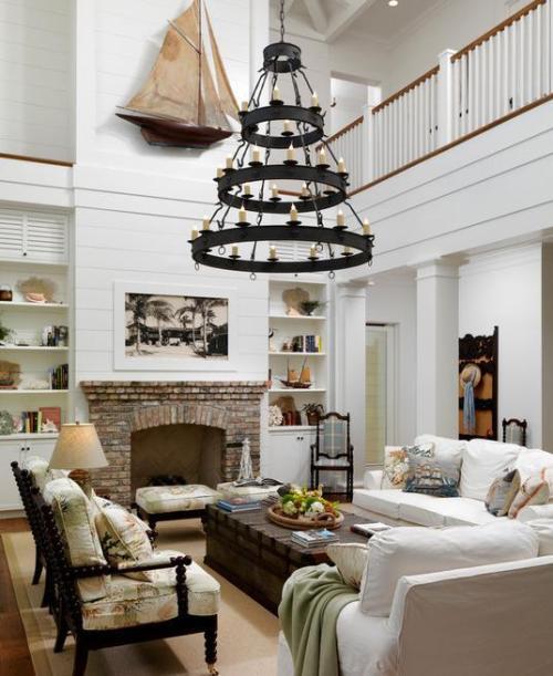 3 Tier Buckingham Chandelier custom made for a bright, nautical living room.