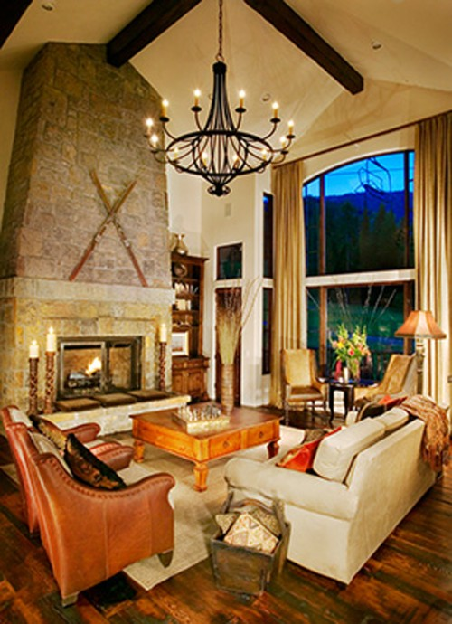 Laura Lee Designs chandelier in a rocky mountain lodge.