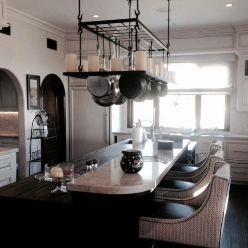 Custom kitchen chandelier.