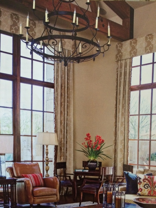 Double Tier Ellington Chandelier adorning a gracious traditional living room.