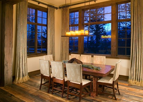 Rectangular Mallorca Chandelier in a transitional dining room.
