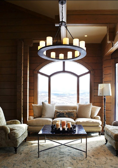 Transitional living room with a custom Mallorca Chandelier.