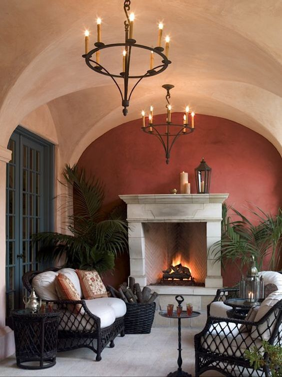 Our Tuscan-style custom Lyon Chandeliers.