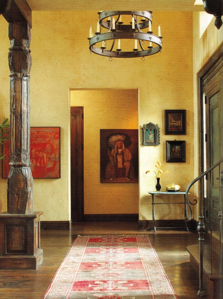 Sorrento Chandelier in a Southwest style entryway.