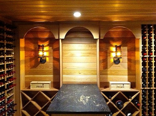 Camelot Sconces in wine cellar.