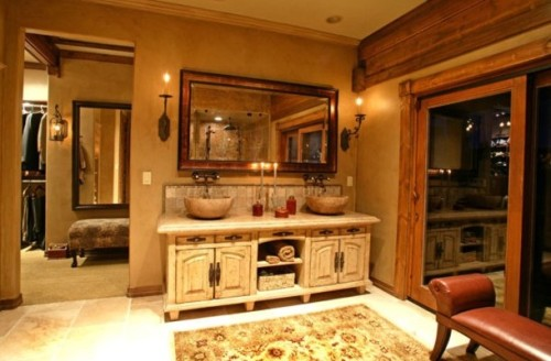 An elegant, rustic master bathroom.