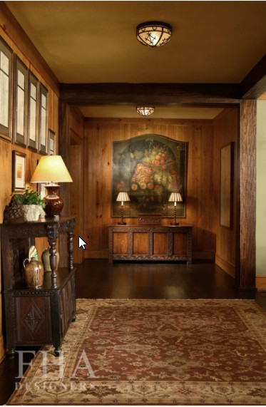 Laura Lee Designs lighting in a formal wood paneled entryway.