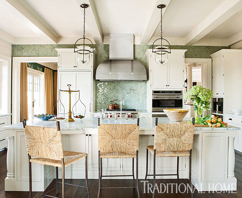 Laura Lee Designs Rush Counter Chairs in Traditional Home Magazine.