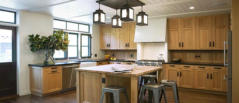 A custom lantern fixture over the kitchen island.