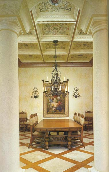 Dining area with the Lauren Chandelier and sconces.