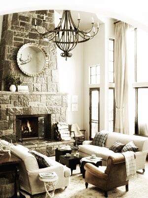 Monaco Chandelier in a rustic contemporary home.