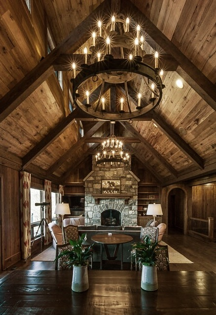 Triple Tier Sorrento Chandeliers in a mountain home.