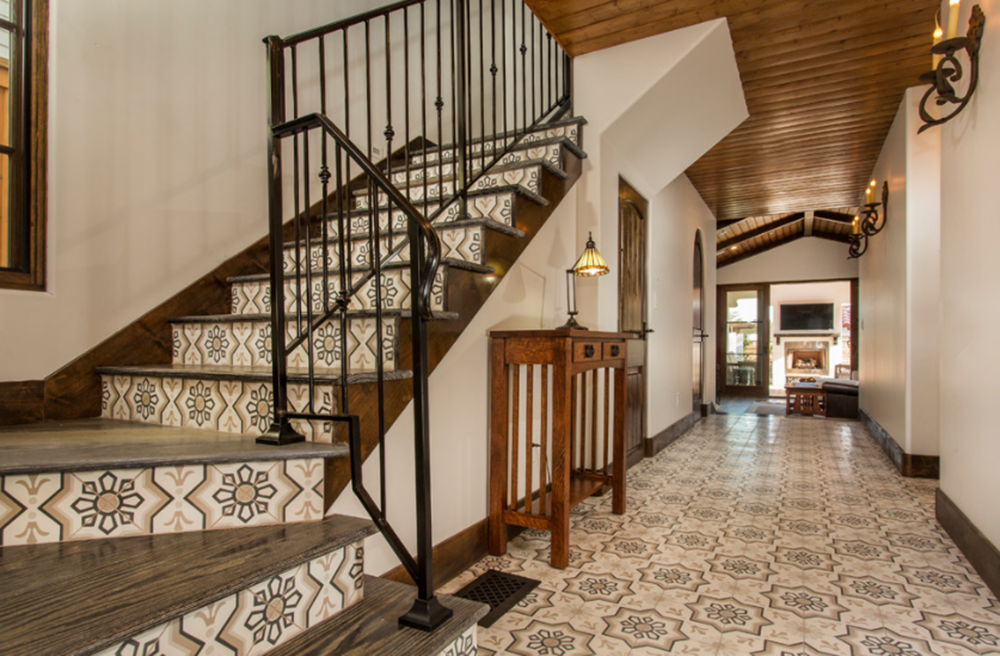 Bermuda sconces adorning a hacienda style foyer.