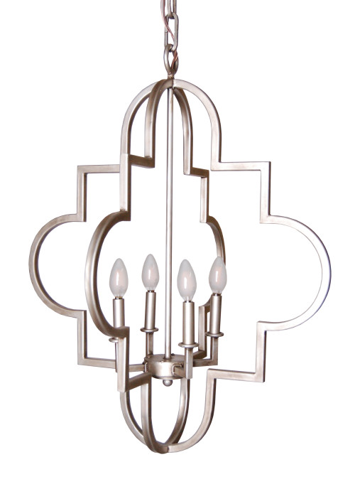 Our Jennifer Chandelier with frosted LED candelabra bulbs.