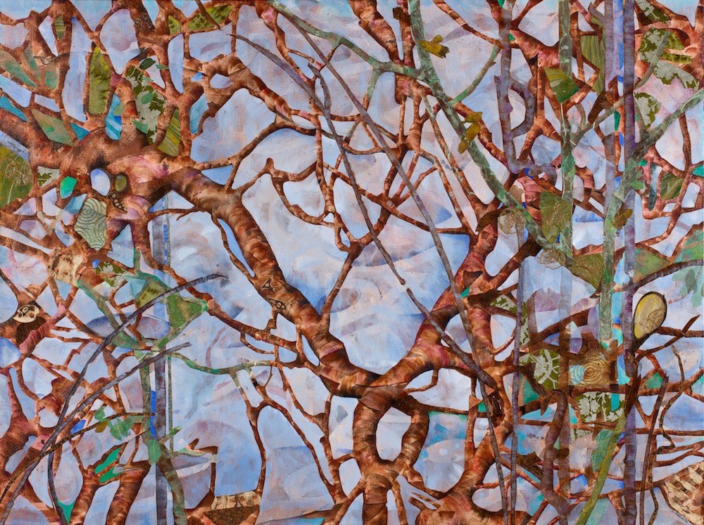 TREE TATTOOS, 36x48, mixed collage on canvas (2012)