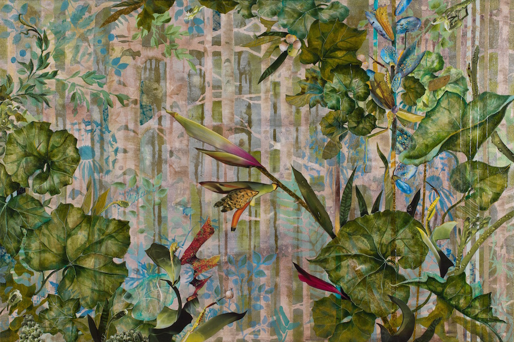 AVANT GARDEN, 24x36, mixed collage on canvas (2014) Sold