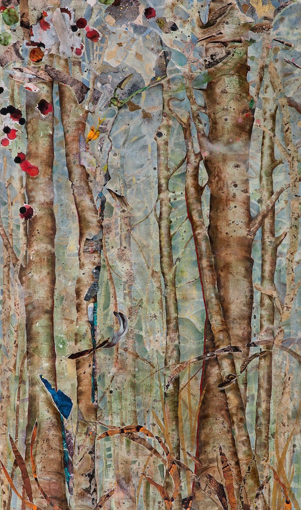 BIRTH OF A FOREST, 60x36, mixed collage on canvas (2015) Sold