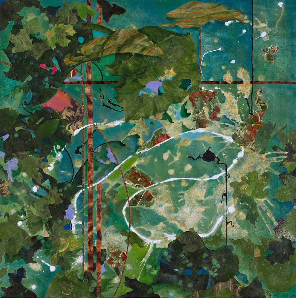FIREFLY NATION, 36x36, mixed collage on canvas (2012) Sold