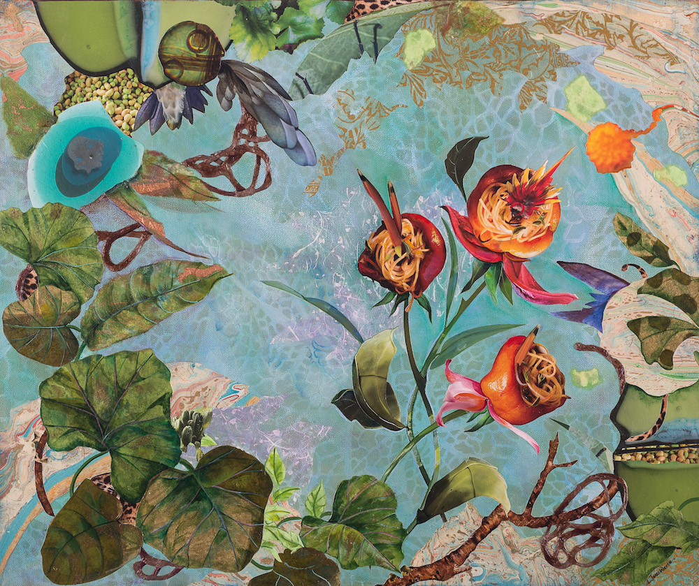 FLEURLICIOUS, 20x24, mixed collage on canvas (2015) Sold