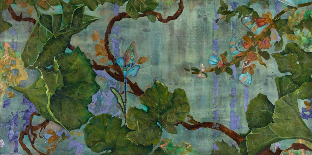FLYING FLOWERS, 24x48, mixed collage on canvas (2013) Sold