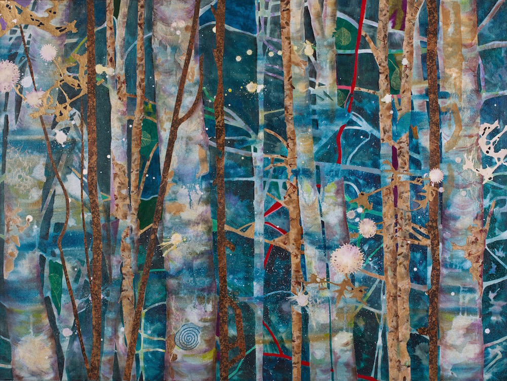 NIGHT SPRITES, 36x48, mixed collage on canvas (2012) Sold