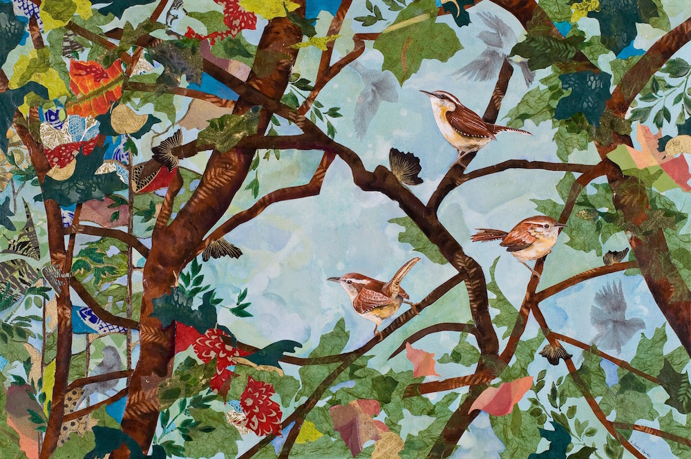 WREN PARTY, 24x36, mixed collage on canvas (2011) Sold