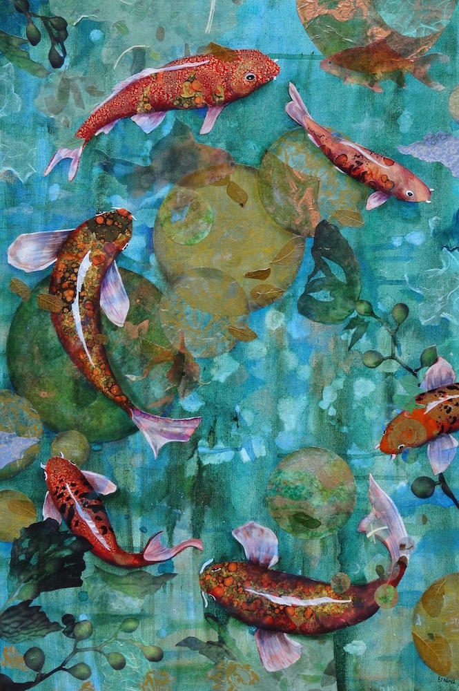 FISH IN SPACE II: PLAY BALL, 30x20, mixed collage on canvas (2014) sold