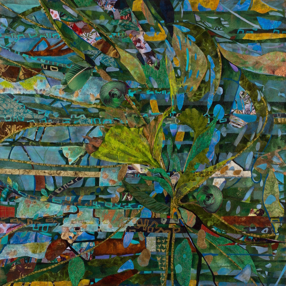 BOUQUET, 36x36, mixed collage on canvas (2014) sold