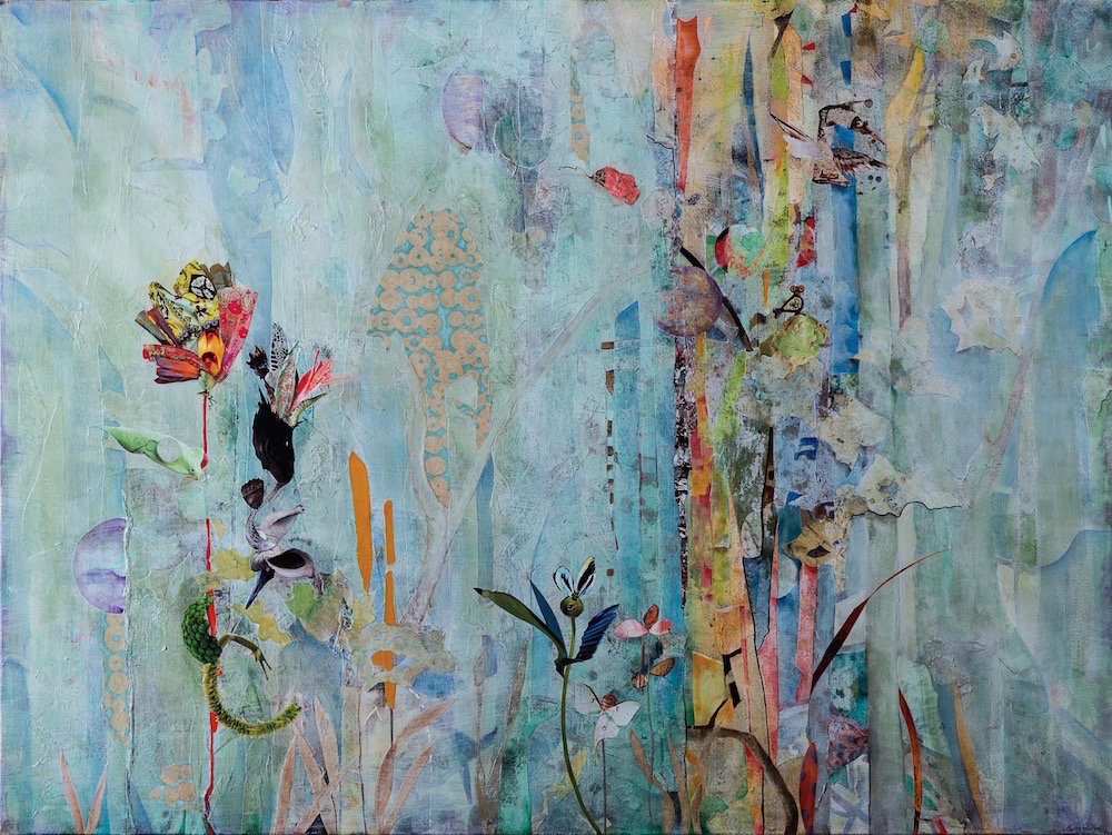 GOSSAMER DELIGHTS, 36x48, mixed collage on canvas (2016) sold