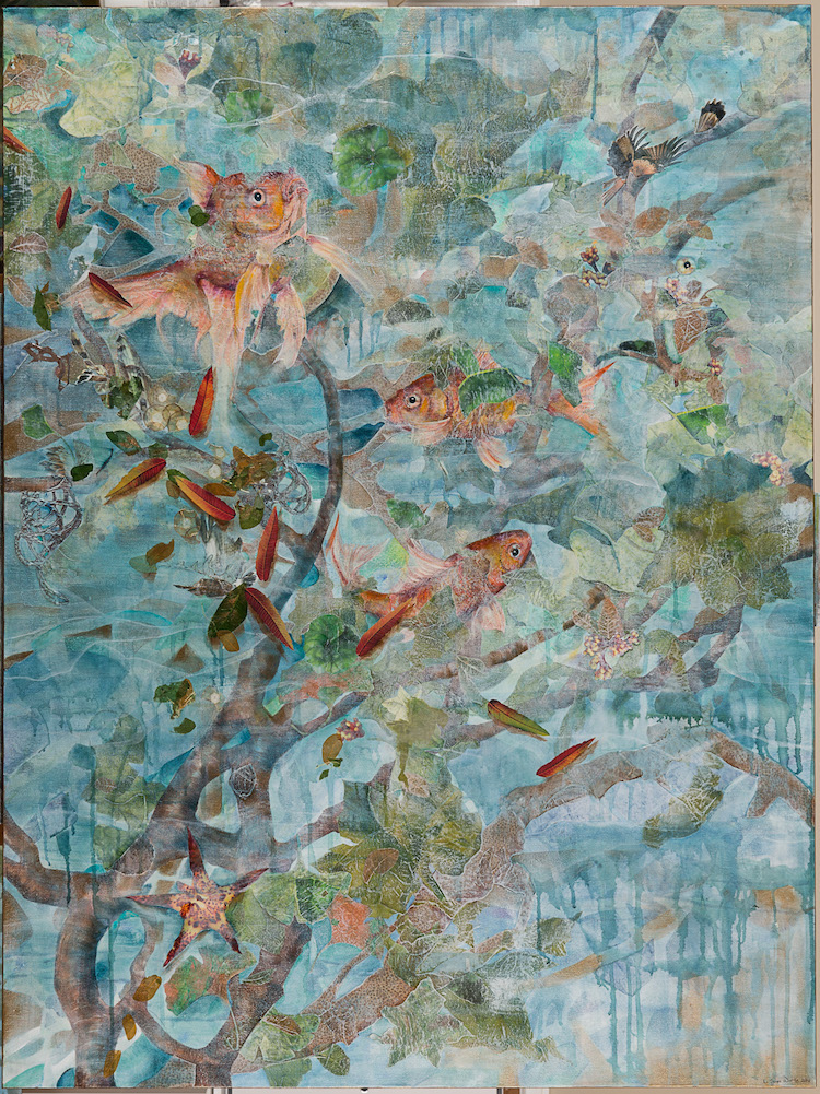 FISH SPIRITS, 48x36, mixed collage on canvas (2015) sold