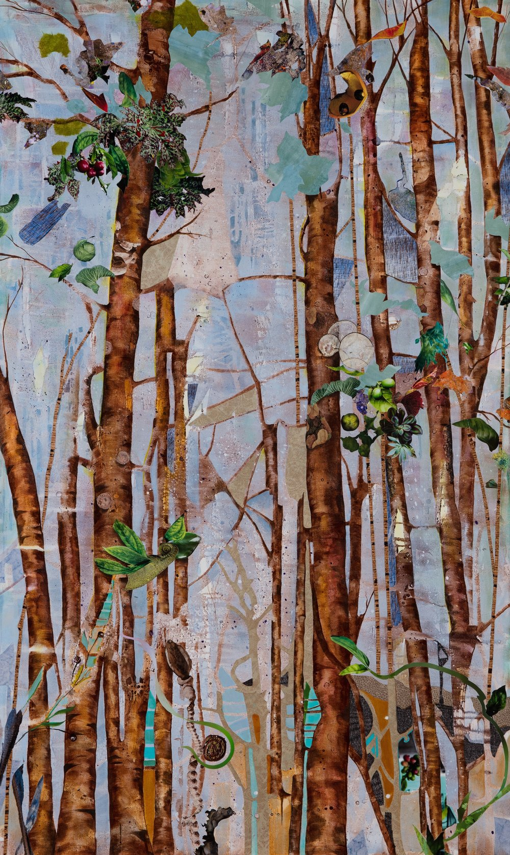 TRUNK SHOW II, 60x36, mixed collage on canvas (2017)