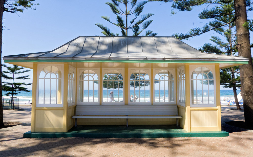 Tram stop at Manly Beach