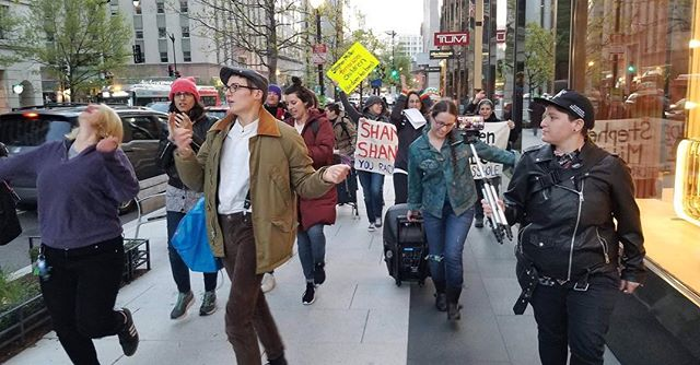 Shkoyach! Thank you to @werk4peace, @sanctuarydmv, @newsynagogueproject, and @dirtyragsdc for partnering with us for this incredible Yiddish dance protest against Stephen Miller and white nationalism!