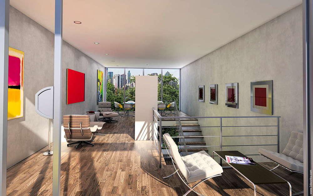 3D Visualisierung und Animation, Townhouse, Innenraumstudie