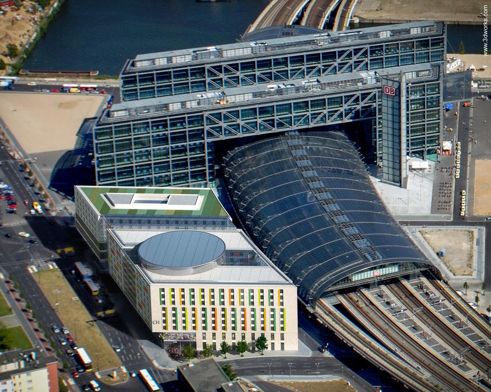 3D Visualisierung und Luftbildmontage, Hotel am Hauptbahnhof, Berlin - Aukett + Heese