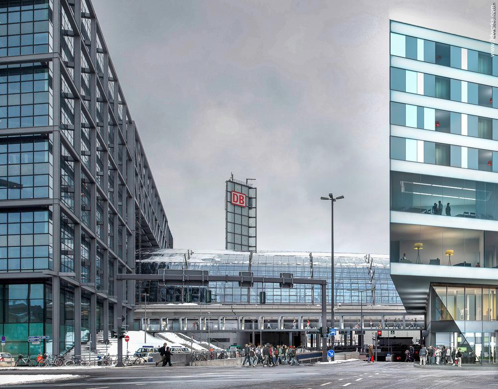 Architekturvisualisierung und Fotomontage, Hotel am Hauptbahnhof / Studie, Berlin - Aukett + Heese