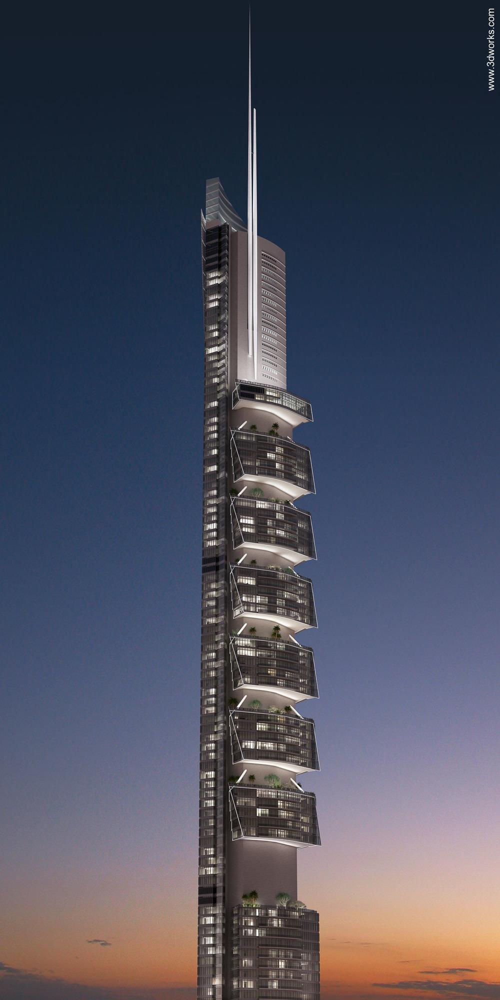 Visualisierung und Lichtsimulation, Pentominium Dubai, Lichtstudie - Kardorff Ingenieure Lichtplanung