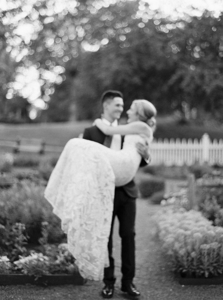 Sunset garden bride and groom portraits