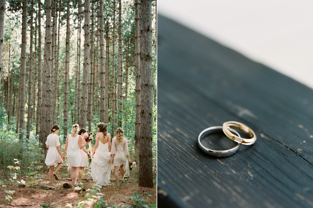 Outdoor bohemian wedding in ontario