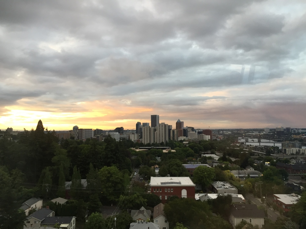 portland sunset from the tram