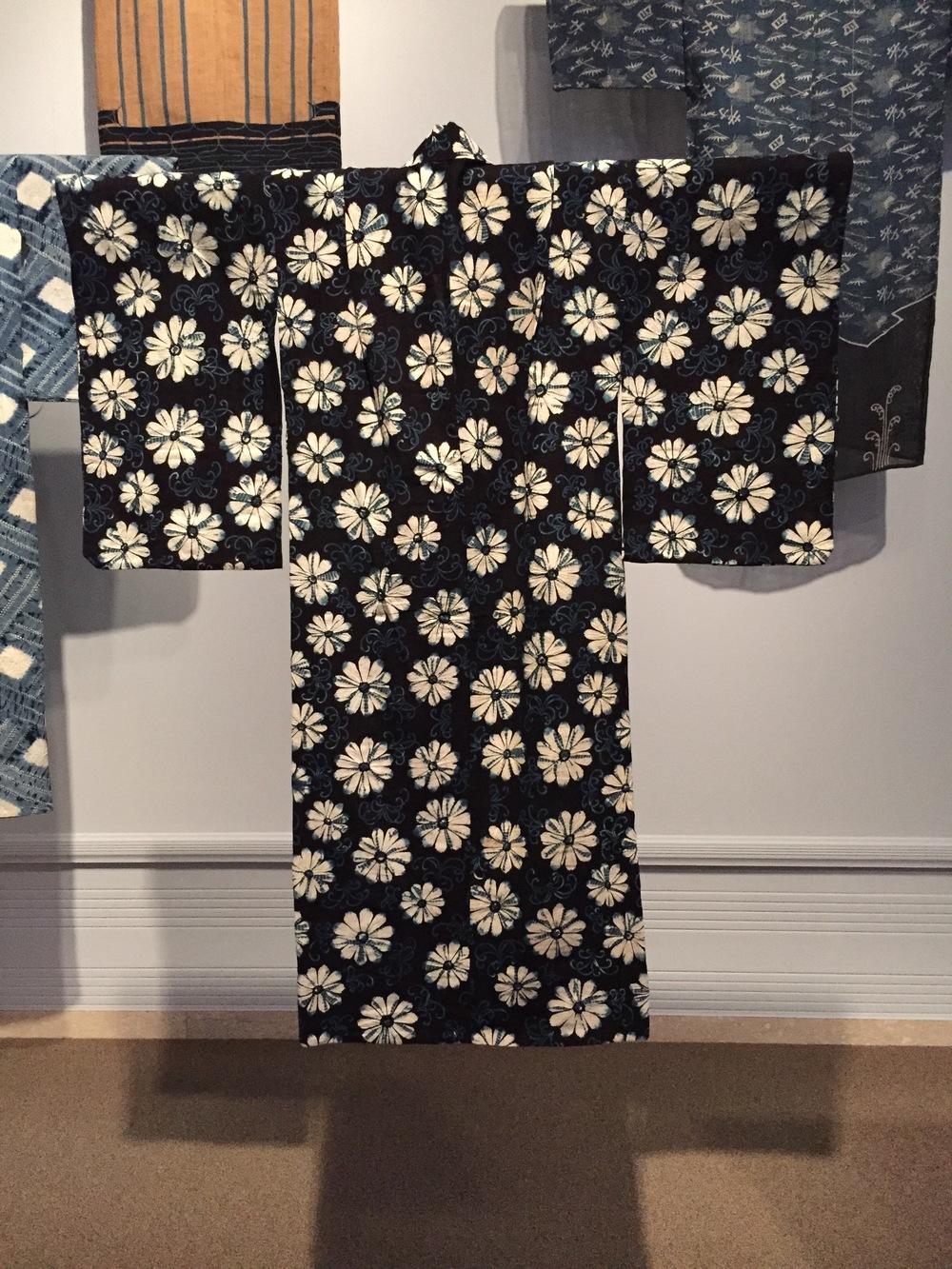 japanese kimono with indigo dye