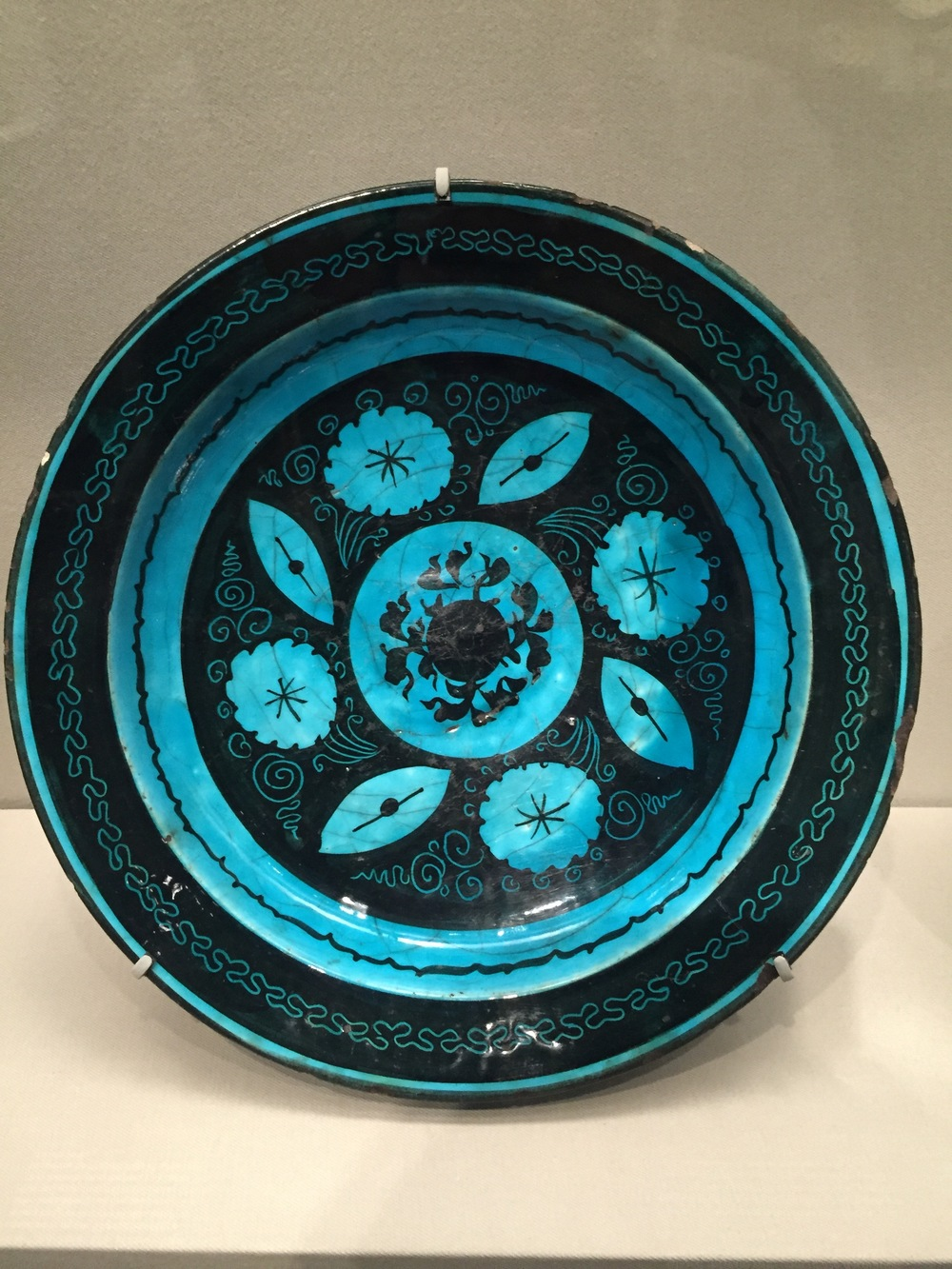 Dish with flower and leaf designs