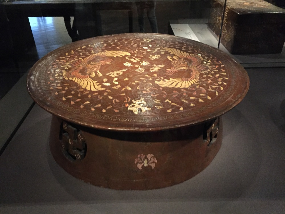 Table with phoenix, crane, and peach motif
