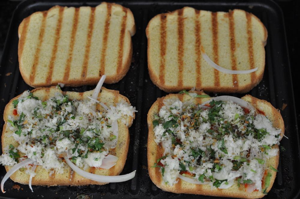 onion cilantro grilled cheese sandwiches