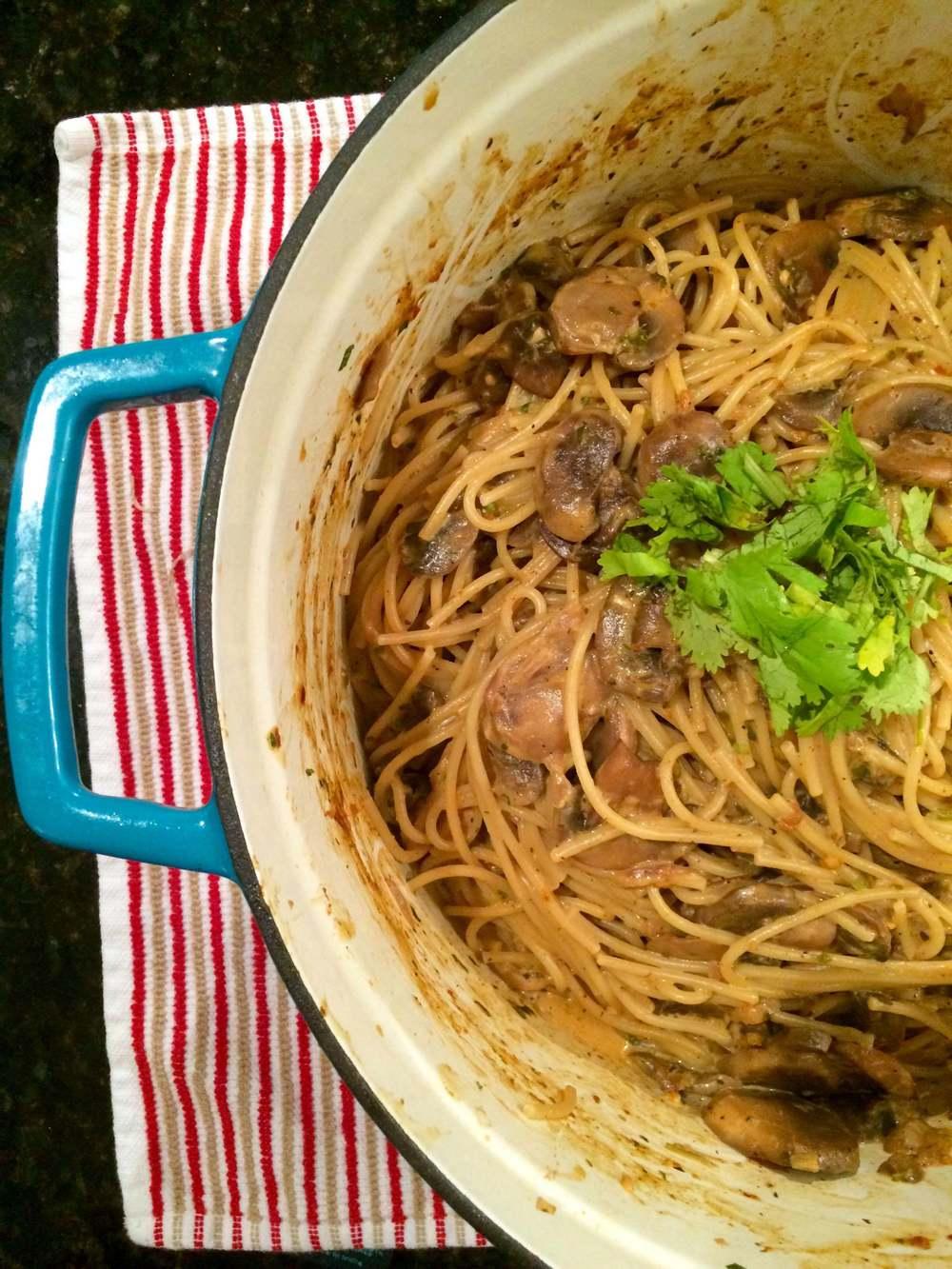 spicy coconut curry mushroom pasta