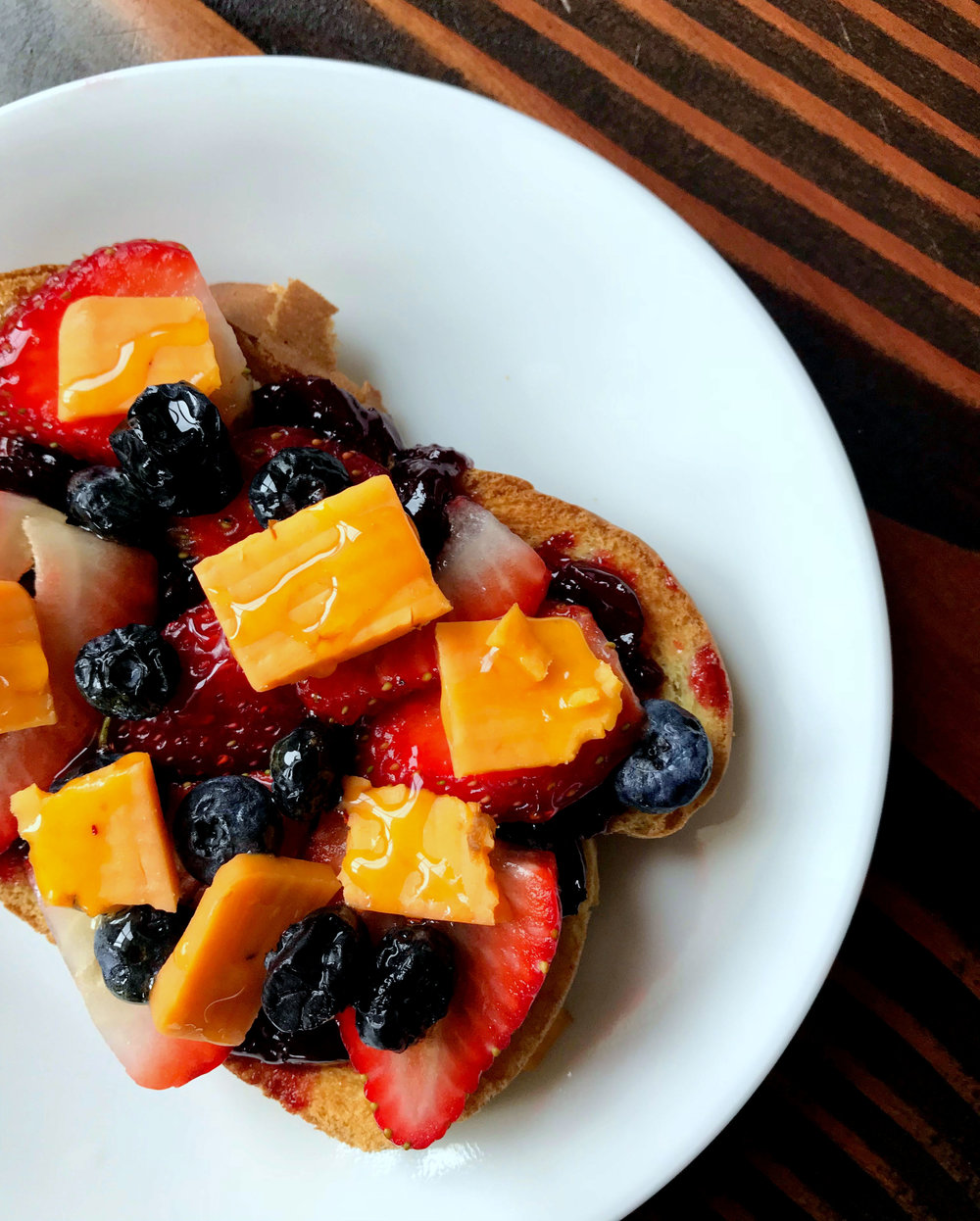 Breakfast fruit and cheese toast
